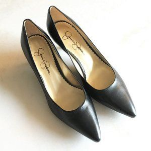 New! Black leather pointed toe pump low high heel